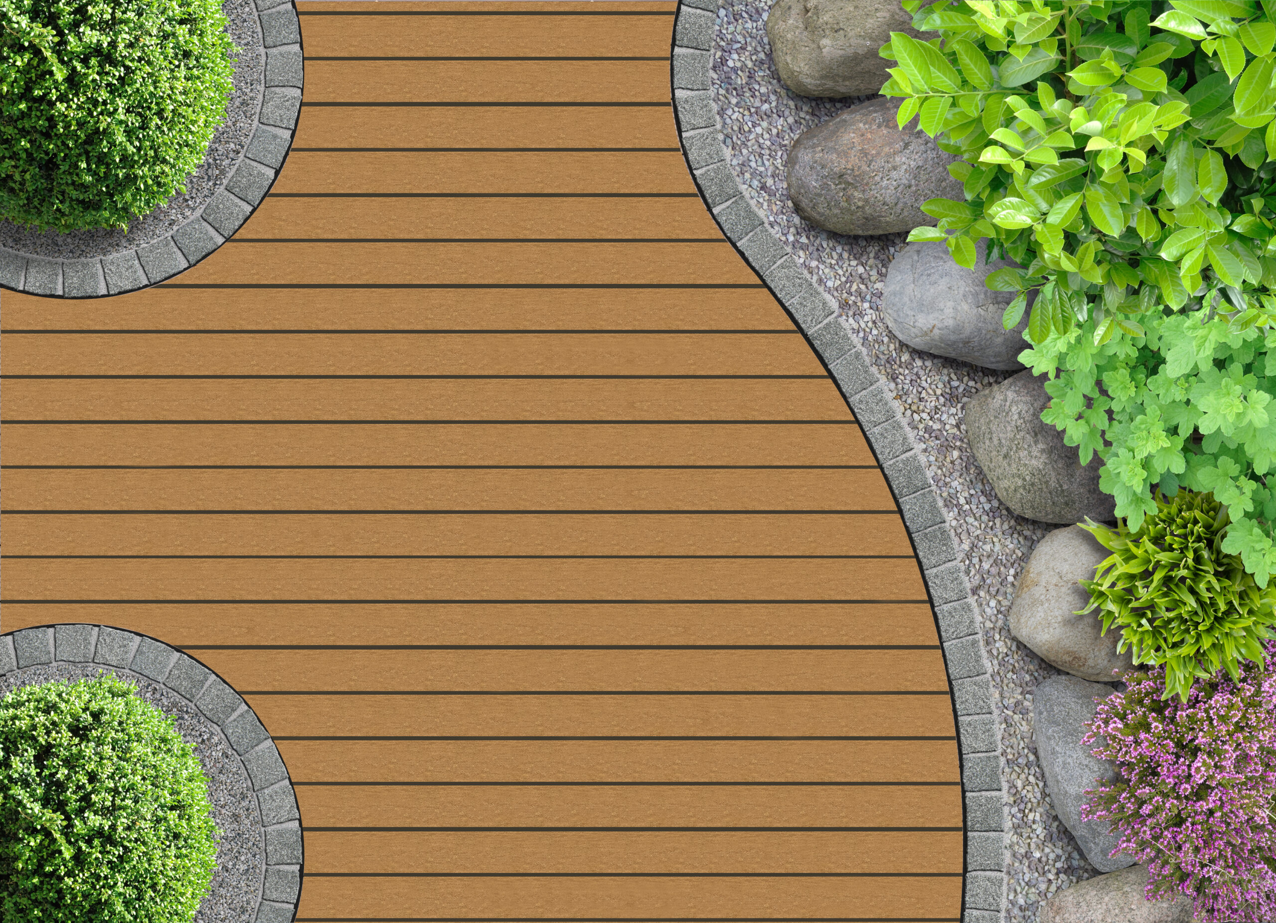 Decking Products,garden detail in top view
